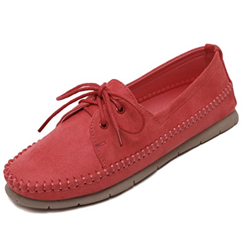Lemontree Damen Sommer Slip on Flach Schuhe Mokassins Slippers 381 Rot