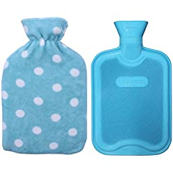 Classic Rubber Hot or Cold Water Bottle with Soft Fleece Cover