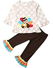 Bagilaanoe 3Pcs Kids Toddler Baby Girls Turkey T-Shirt Tops Dress+Pants Leggings+Scarf Thanksgiving Outfit Clothes Set 1-6T
