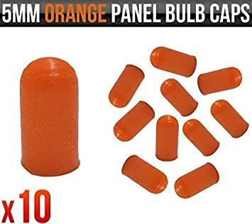 Covers for Dashboard 5mm Orange Rubber Caps Instrument and Panel Bulbs x 10