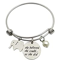 CAROMAY Bangle Bracelet Lucky Cute Elephant She Believed She Could So She Did inspiration Gift