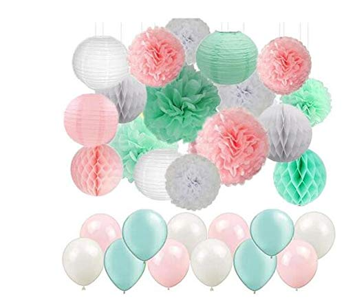 Girls Party Decoration Kit 47pcs/Set White Pink Mint Tissue Paper Pom Poms Paper Lanterns Paper Honeycomb Balls and Latex Balloons Wedding Bridal Shower Decor First Birthday Decor ()