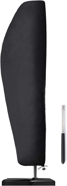 HYINDOOR Patio Umbrella Cover Waterproof Cantilever Parasol Umbrella Cover 420D Oxford Fabric Outdoor Parasol Umbrella Cover Protector with Zip and Telescopic Pole