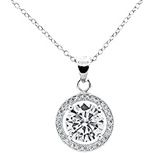 Cate & Chloe Valentines-Day-Jewelry-Gift-Ideas-for-Women Blake True 18k White Gold Halo Pendant Necklace, Silver CZ Solitaire Necklace - msrp $99