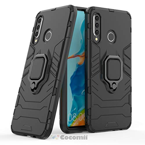 Cocomii Black Panther Armor Huawei P30 lite Case NEW [Heavy Duty] Tactical Metal Ring Grip Kickstand Shockproof Bumper [Works With Magnetic Car Mount] Full Body Cover for Huawei P30 lite ()