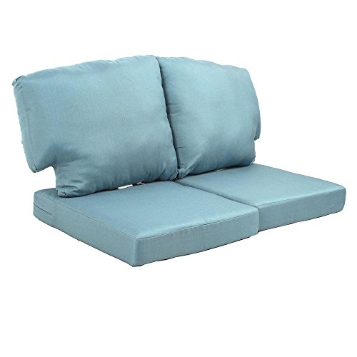 Charlottetown Washed Blue Replacement Outdoor Loveseat Cushion by Martha Stewart Living