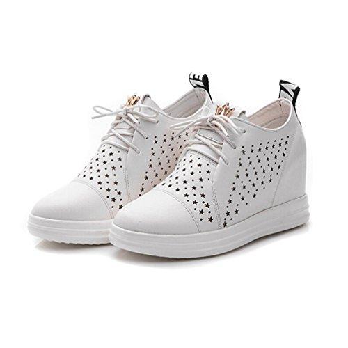 Chaussure Femme Basket Talon Etolies Haute Plat 7 Cm Avec Compensé À De Trous Blanc Des Comme rrFEdwq