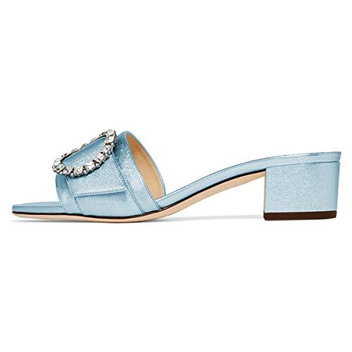 Xyd Donna Strass Open Toe Low Block Tallone Mule Slide Dress Sandalo Slipper Scarpe Outdoor Blu