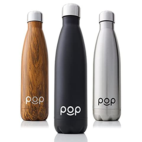 Water Bottle by POP Design | Keeps Cold 24hrs. or Hot for 12hrs. | Stainless Steel Vacuum Insulated | Sweat & Leak-Proof | Narrow Mouth & BPA Free | 17 Oz (500ml) | Onyx