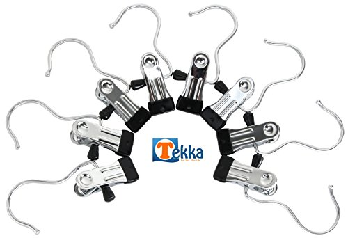 Tekka 8 Pcs Portable Laundry Hanging Hanger Hooks For Clothing, Lingerie, Shoes, and More..Stainless Steel Lightweight Compact Travel Home