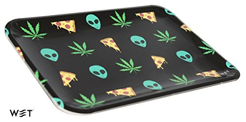 6 Rolling Trays for The Price of One, Reusable Food Grade Paper Plate Material, Best for Party Supply (Alien)