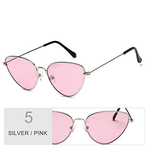 con de Vintage marco TL oro UV400 metal gafas Sunglasses para hombres gris de mujeres PINK Gato gafas mujeres sol SILVER Ojo de de Owwt7Sq5