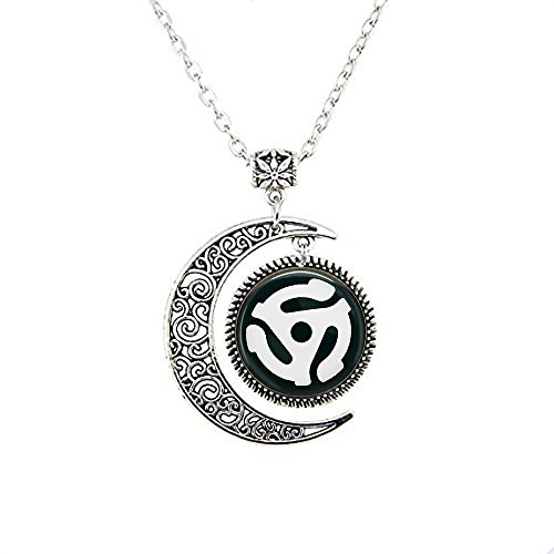 stap 45 Record Adapter moon Necklace - Gift for Music Lover - Old School Music Jewelry - Vinyl Record Jewelry -