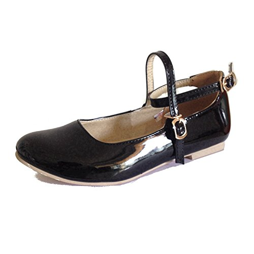 hershel-thomas-ladies-flat-shoes-cute-flats-patent-leather-glitter-buckle-rubber-black-white-pink-re