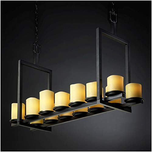 (Justice Design Group CandleAria 14-Light Chandelier - Matte Black Finish with Amber Faux Candle Resin Shade)