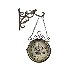 Double Sided Clocks, European Iron Flower and Bird Two-Sided Wall Bell Creative Personality Retro Mute Living Room Bracket Clock