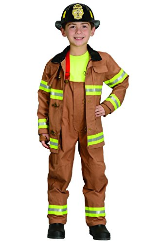 Jr. Fire Fighter Suit with helmet, size 6/8 (tan)