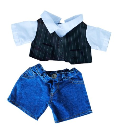 """Pinstripe Vest Dress Shirt and Denim Pants Teddy Bear Clothes Fits Most 14""""-18"""" Build-A-Bear and Make Your Own Stuffed"""