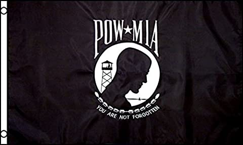 POW-MIA Flag 3x5 | Long Lasting Nylon Embroidered Logo with Quadruple Stitched Fly End |100% Guarantee | Premium Quality Built Indoor or Outdoor - Double Sided Pole
