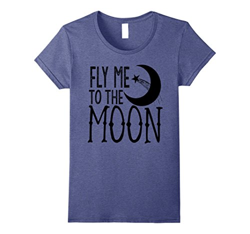 Womens Fly Me to the Moon T-shirt Medium Heather Blue