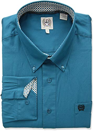 (Cinch Men's Classic Fit Long Sleeve Button One Open Pocket Solid Shirt, Teal S)