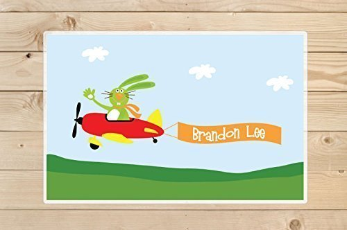 Airplane-placemat-Personalized-rabbit-airplane-Placemat-for-Kids