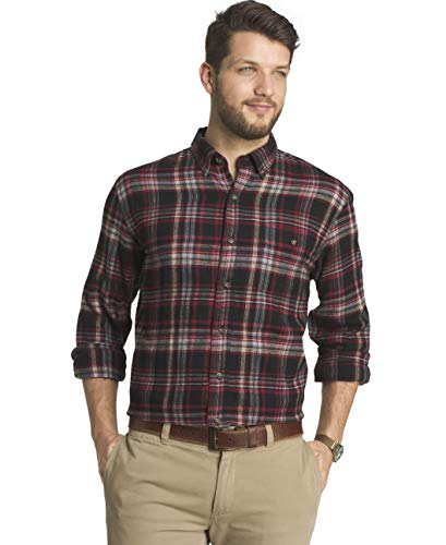 G.H. Bass & Co. Men's Fireside Flannels Long Sleeve Button Down Shirt, Black, X-Large