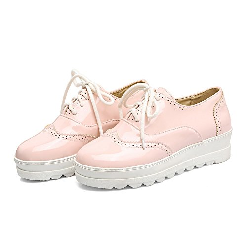Closed Pink Solid Pumps Toe Odomolor PU 34 Low Lace up Shoes Heels Women's qnP4Y5