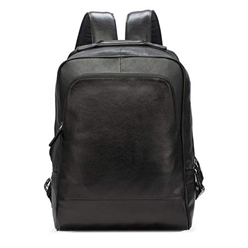 (Men's Backpack Leather Fashion Travel Laptop Large Capacity Business Bag,Black,29cmx12cmx37cm)