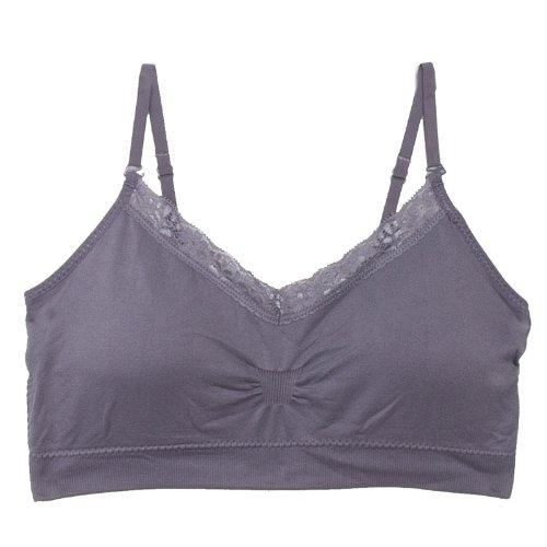 - Coobie Strappy V-Neck Lace Trim Bra (9042) O/S/Medium Grey