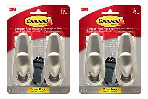 Command Forever Classic Metal Hook, Large, Brushed Nickel, 4-Hooks (2 Packs of FC13-BN-2ES)