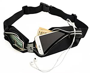 Sport2People Running Pouch Belt - iPhone 6, 7 Plus Holder for Runners - Best Running Gear for Hands Free Workout - Fanny Waist Pack with Two Pockets - Water Resistant & Reflective Fitness Accessories