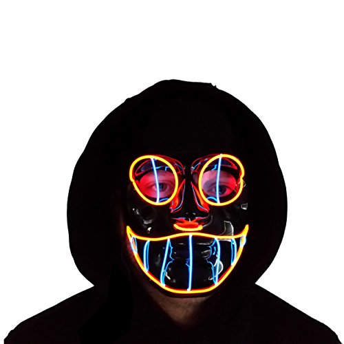 The Original LED Light Up El Wire Cheshire Cat Halloween Rave Festival Mask (Red/Blue)