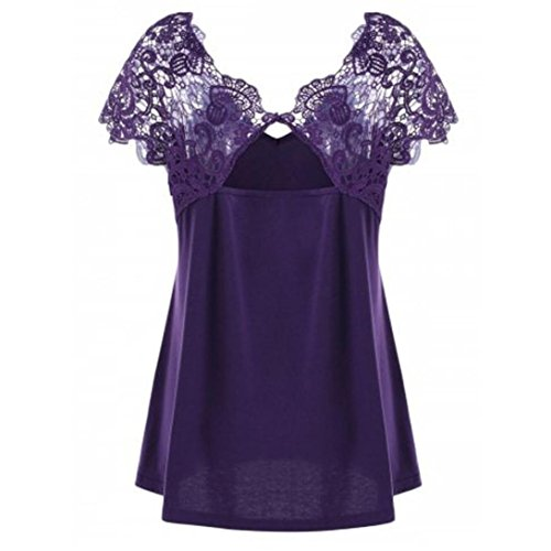 CUCUHAM Womens Fashion V-Neck Plus Size Lace Short Sleeve Trim Cutwork T-Shirt Tops (XL, Purple)