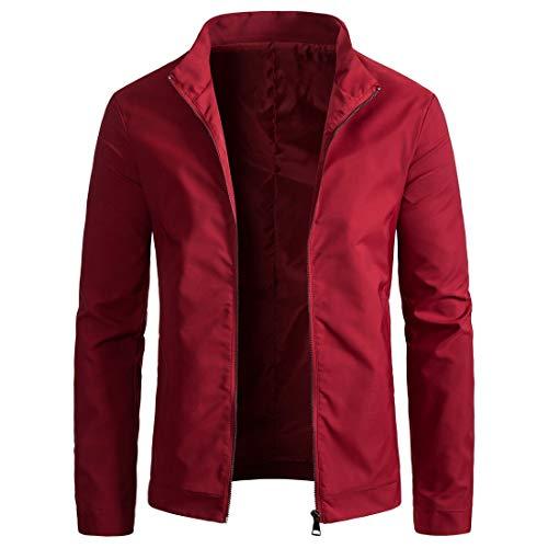 WULFUL Mens Slim Fit Lightweight Windbreaker Casual Jacket Waterproof Outdoor Sportswear Wine Red ()