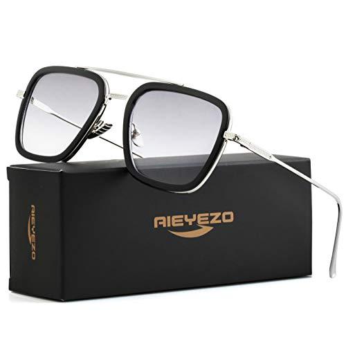 Tony Stark Sunglasses Vintage Square Metal Frame Eyeglasses for Men Women - Iron Man and Spider-Man Sun Glasses (Tony Stark Same Color)