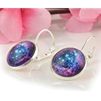 Vintage Retro Women Moonstone Galaxy Universe Star Earrings Earhook Ear Studs