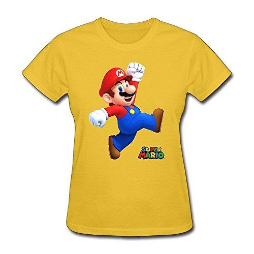 ZHUYOUDAO Custom Nintendo Super Mario T-Shirt For Women Yellow XL