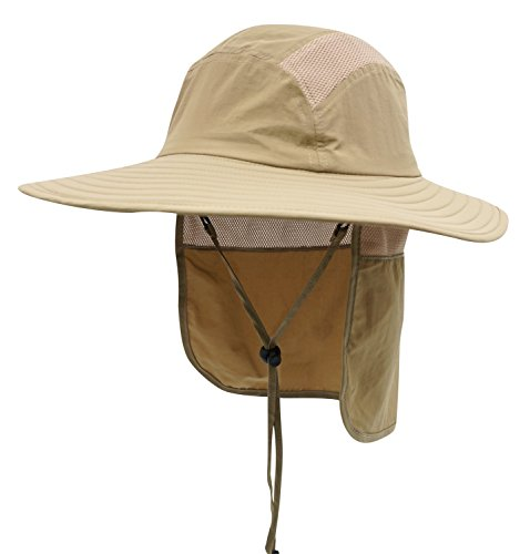 - Home Prefer Adult UPF 50+ Sun Protection Cap Wide Brim Fishing Hat with Neck Flap Khaki