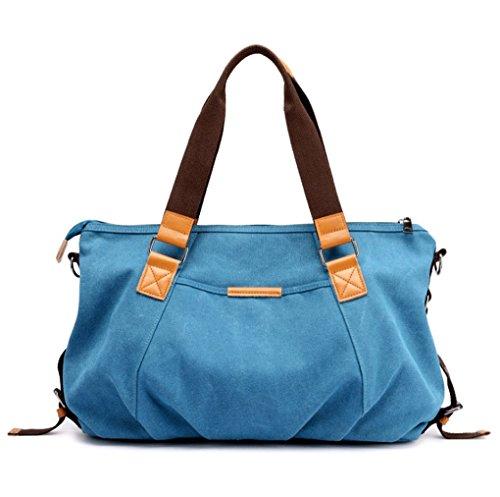 LBXB Bolsa de lona Bolsos de señora Bolso de hombro Moda Literatura casual y Arte Bolsas de viaje vintage Crossbody (Color : Gris claro, Tamaño : 53*14*30cm) Azul