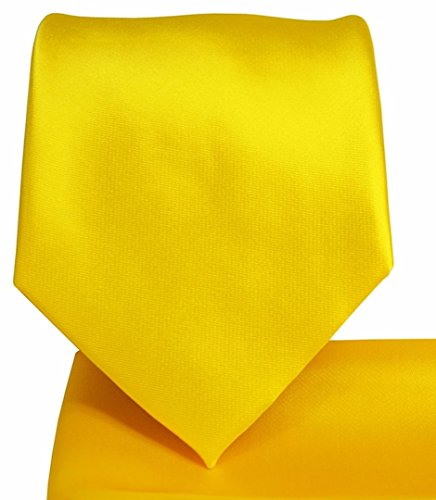 Oliver George Solid Pattern NeckTie Set (Yellow - Handkerchief Necktie Gold Color