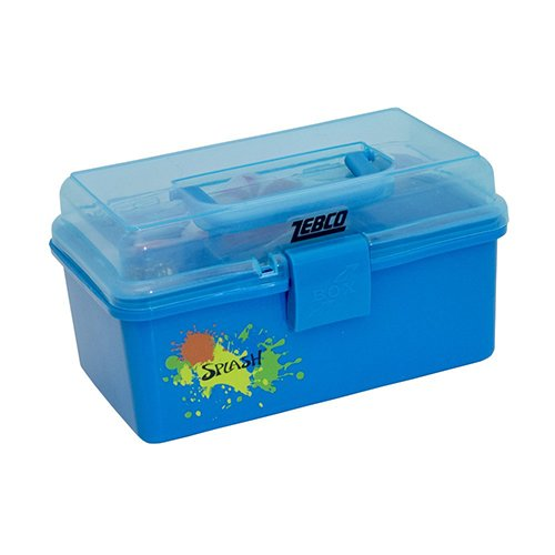 Zebco SPLASHTBX, HT6 Quantum, Kids Splash Tackle Box, Transparent Lid, 57 pc Tackle Assortment