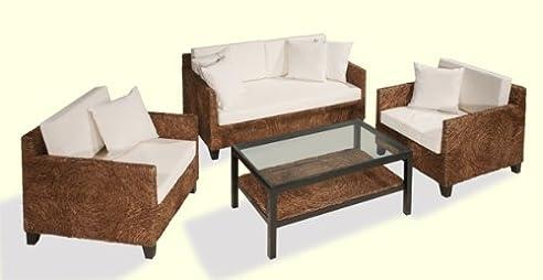 Wasserhyazinthe Garnitur Rattan Sofa Couch Rattansessel ...