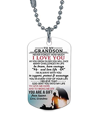 to My Grandson Necklace Grandma and Grandson Dog Tag Gifts for Kids
