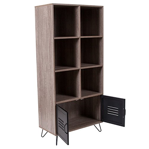 Flash Furniture Woodridge Collection Rustic Wood Grain Finish Storage Shelf with Metal Cabinet Doors and Black Metal Legs