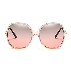 Freckles Mark Super Oversize Square Rectangular Plastic Vintage Women Sunglasses (Pink Green, 60)