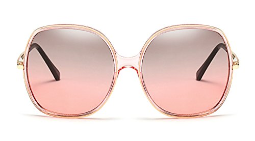 70s Super Oversize Square Sunglasses for Women Vintage Rectangular Plastic Frame (Pink Green, 60)]()