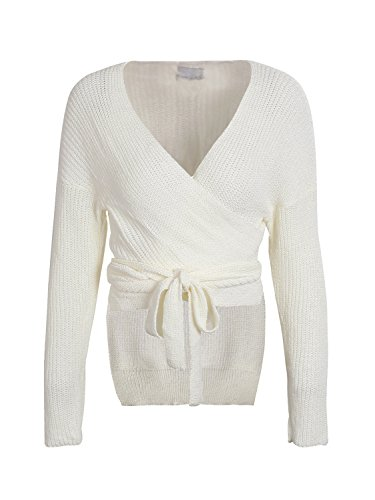 Glamaker Women's Wrap Long Sleeves Knit Sweater V Neck Cardigan With Tie White