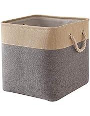 TheWarmHome Decorative Basket Rectangular Fabric Storage Bin Organizer Basket with Handles for Clothes Storage (Gray Gold Patchwork Patchwork, 13L×13W×13H)
