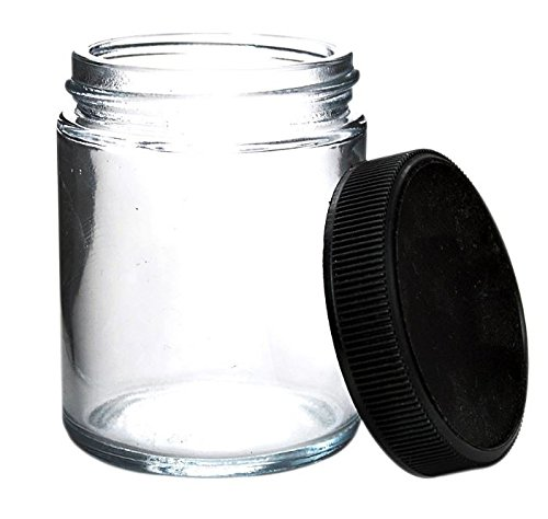 Glass Quarter Ounce Cannabis Jars (6 Jars) - Air Tight and Smell Proof Medical Cannabis Containers/Marijuana Warning Labels Included